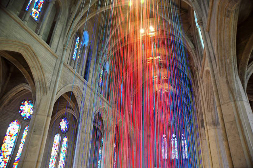 """Graced with light""  The Most Impressive String Installations in the World graced with light ribbon installation grace cathedral anne patterson 1  HOME PAGE graced with light ribbon installation grace cathedral anne patterson 1"